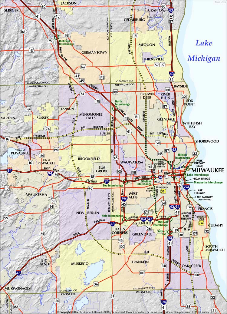 Wisconsin Highways: Milwaukee Freeways: System Map